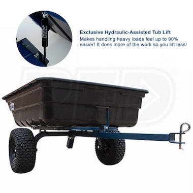 OxCart Hydraulic-Assisted 12 Cubic Foot Poly Dump Cart w/ Swivel Dump